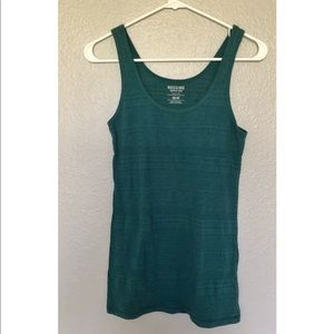 Mossimo Teal Patterned Fitted Tank Top
